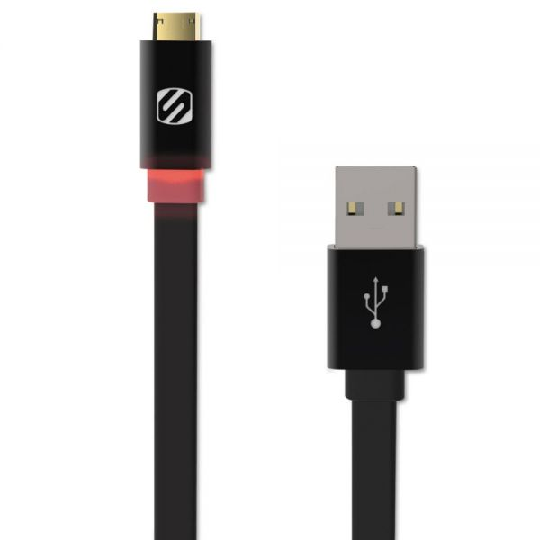 Scosche flatOUT LED ZETip Reversible Micro Charge/Sync Cable with LED, 3 ft
