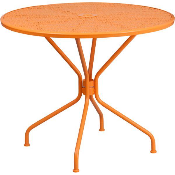 Flash Furniture 35.25'' Round Orange Indoor-Outdoor Steel Patio Table