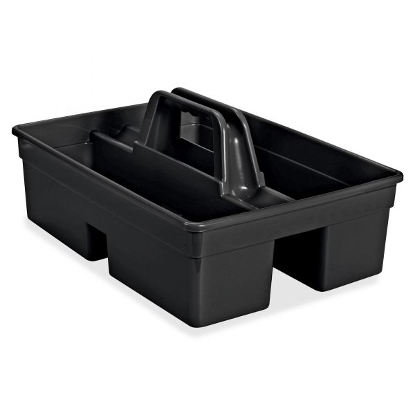 """Rubbermaid Commercial Executive Carry Caddy, 2-Compartment, Plastic, 10 3/4""""W x 6 1/2""""H, Black"""