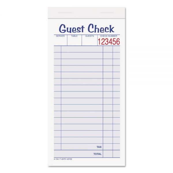 Adams 2-Part Carbonless Guest Check Pads