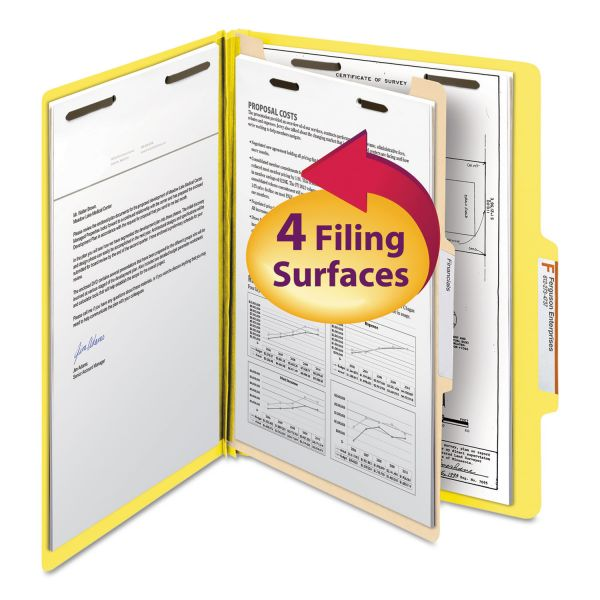 Smead Top Tab Classification Folder, One Divider, Four-Section, Letter, Yellow, 10/Box