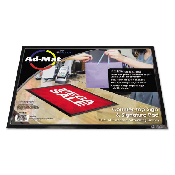 Artistic AdMat Counter-Top Sign Holder & Signature Pad, 11 x 17, Black Base