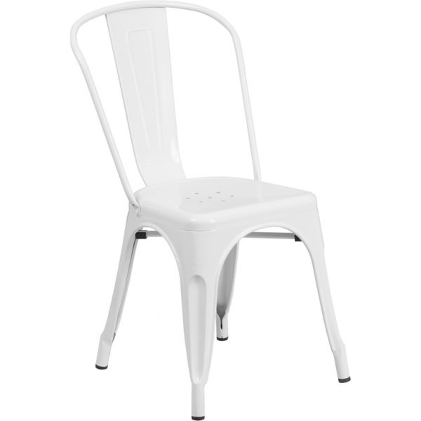 Flash Furniture White Metal Indoor-Outdoor Stackable Chair
