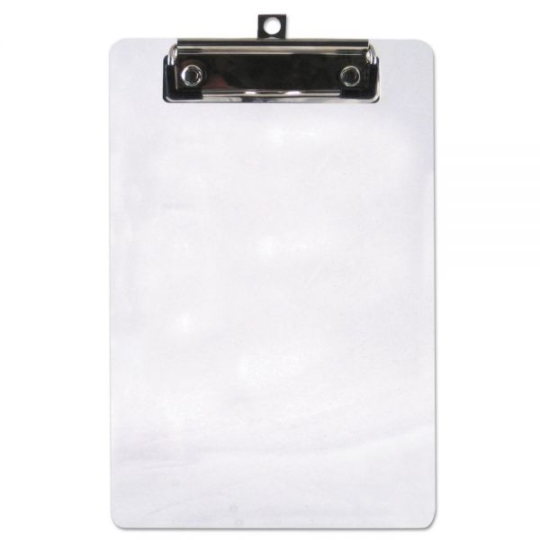 """Saunders Plastic Clipboard, 1/2"""" Capacity, 6 x 9 Sheets, Clear"""