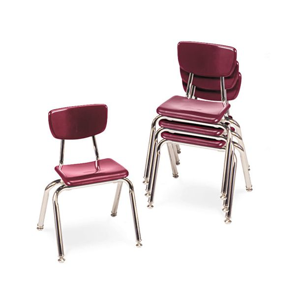 "Virco 3000 Series Classroom Chairs, 14"" Seat Height, Wine, 4/Carton"