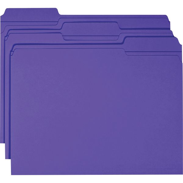 Smead Purple Colored File Folders with Reinforced Tab