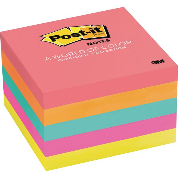 Post-it Notes Original Pads in Cape Town Colors, 3 x 3, 100-Sheet, 5/Pack