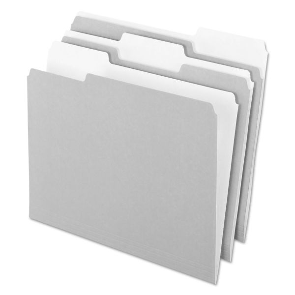Pendaflex Interior File Folders, 1/3 Cut Top Tab, Letter, Gray, 100/Box