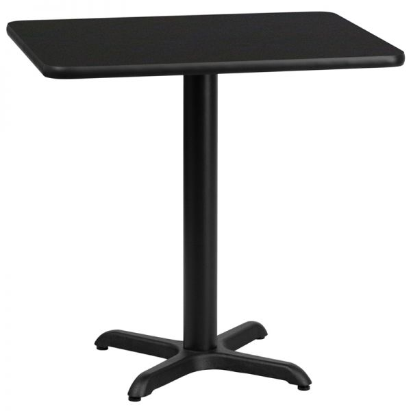 Flash Furniture 24'' x 30'' Rectangular Black Laminate Table Top with 22'' x 22'' Table Height Base