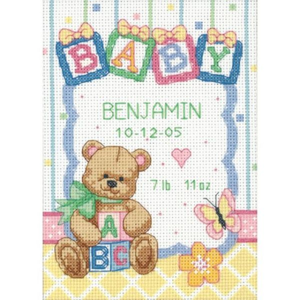 Dimensions Baby Hugs Baby Blocks Birth Record Counted Cross Stitch Kit