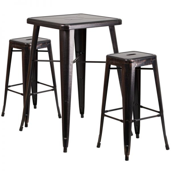Flash Furniture 23.75'' Square Black-Antique Gold Metal Indoor-Outdoor Bar Table Set with 2 Square Seat Backless Barstools