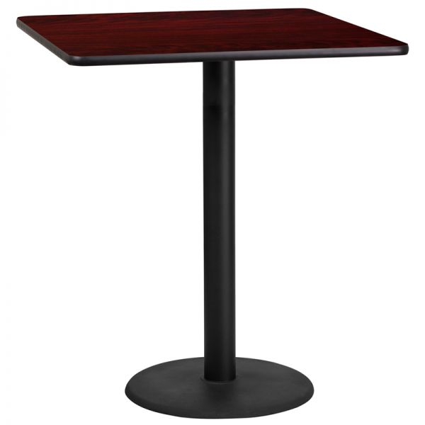 Flash Furniture 36'' Square Mahogany Laminate Table Top with 24'' Round Bar Height Table Base
