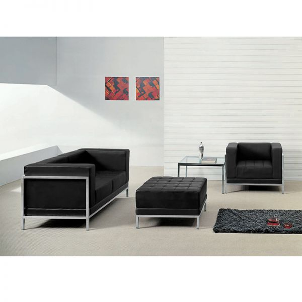 Flash Furniture HERCULES Imagination Series Black Leather Loveseat, Chair & Ottoman Set