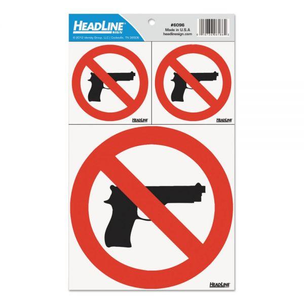 Headline Sign Self-Stick No Guns Decal, (2) 3 X 3 (1) 6 X 6, Red/White