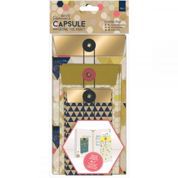 Papermania Geometric Kraft Envelope Bags 6/Pkg