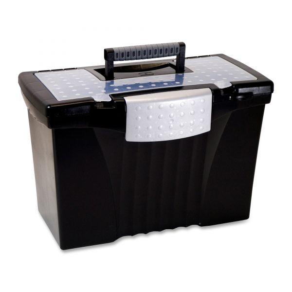 Storex Portable File Box w/ Organizer Lid