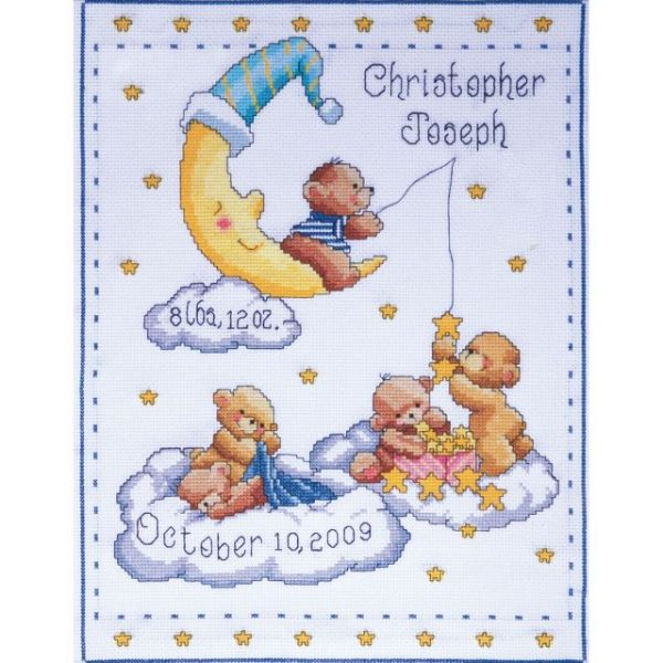 Bears In Clouds Birth Record Counted Cross Stitch Kit