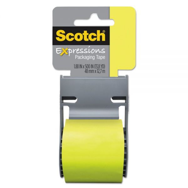 "Scotch Expressions Packaging Tape, 1.88"" x 500"", Green"