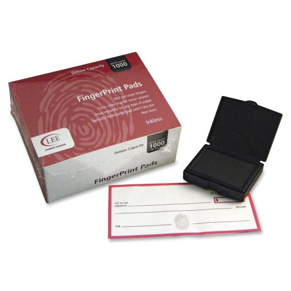 LEE Inkless Fingerprint Pad, 2 1/4 x 1 3/4, Black, Dozen