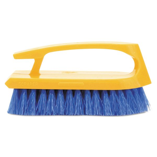 "Rubbermaid Commercial Long Handle Scrub Brush, 6"" Brush, Yellow Plastic Handle/Blue Bristles"