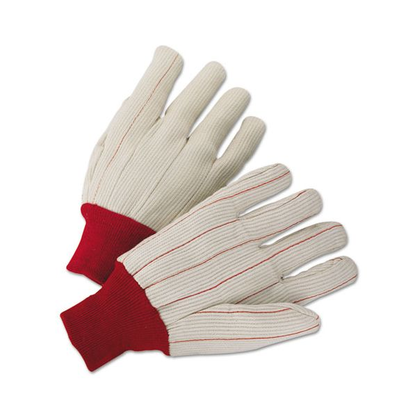 Anchor Brand 1000 Series Canvas Gloves, White/Red, Large, 12 Pairs