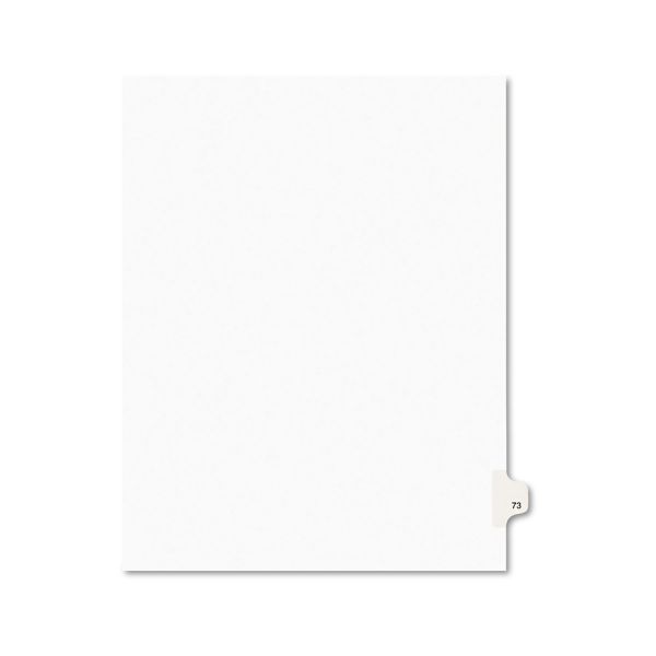 Avery Avery-Style Legal Exhibit Side Tab Divider, Title: 73, Letter, White, 25/Pack