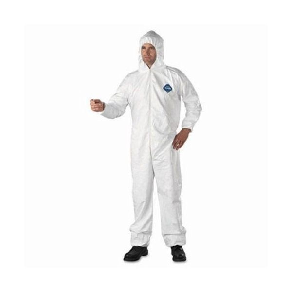 DuPont Tyvek Elastic-Cuff Hooded Coveralls, HD Polyethylene, White, 2X-Large, 25/Carton