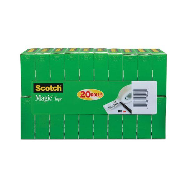 """Scotch Magic Tape Value Pack, 3/4"""" x 1000"""", 1"""" Core, Clear, 20/Pack"""
