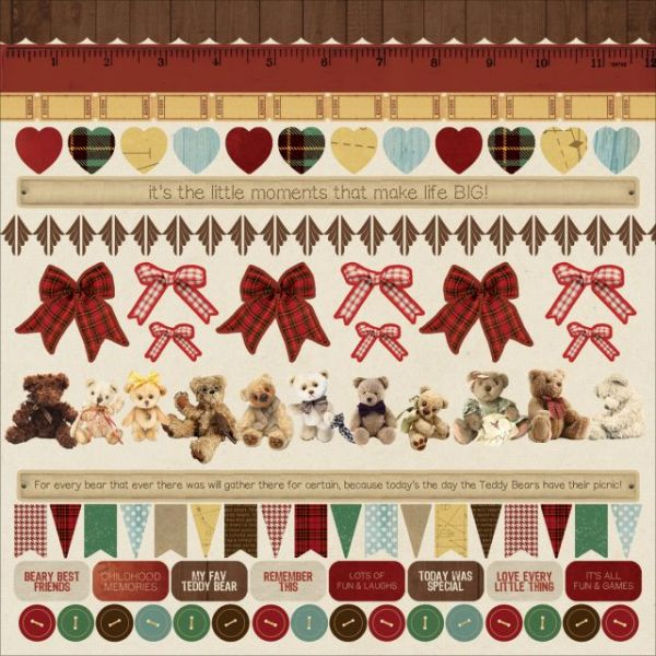 "Teddy Bears Picnic Cardstock Stickers 12""X12"""