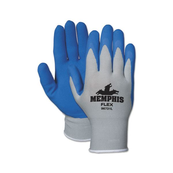 MCR Safety Memphis Flex Seamless Nylon Knit Gloves, X-Large, Blue/Gray, Dozen