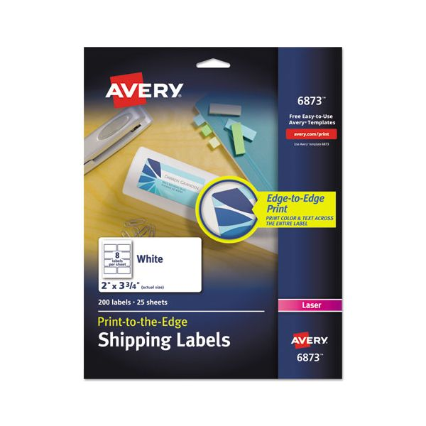 Avery Vibrant Color-Printing Shipping Labels, 2 x 3 3/4, White, 200/Pack