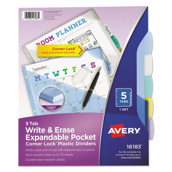 Avery Write-On Tab Dividers With Expandable Pockets