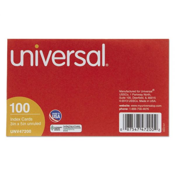 "Universal 3"" x 5"" Blank Index Cards"