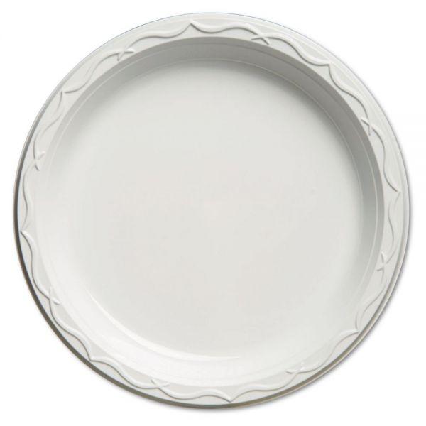 Genpak Aristocrat Plastic Plates, 10 1/4 Inches, White, Round, 125/Pack