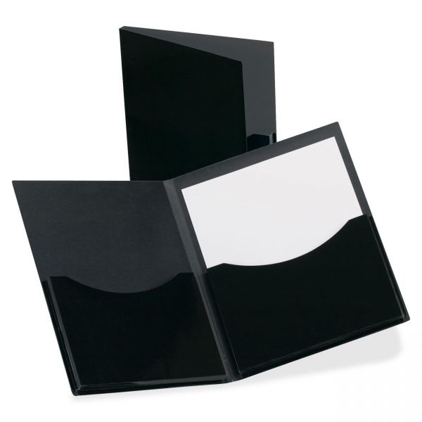 Oxford Double Stuff Gusseted 2-Pocket Laminated Paper Folder, 200-Sheet Capacity, Black
