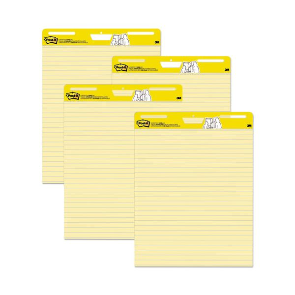 Post-it Easel Pads Self Stick Easel Pads, Ruled, 25 x 30, Yellow, 4 30 Sheet Pads/Carton