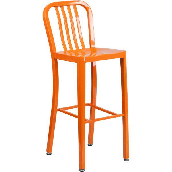 Flash Furniture 30'' High Indoor-Outdoor Barstool with Vertical Slat Back