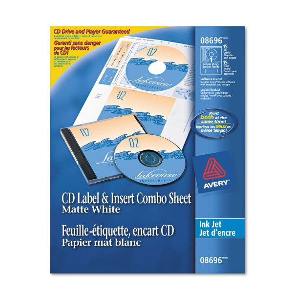 Avery CD/DVD Label & Insert Combo Sheets