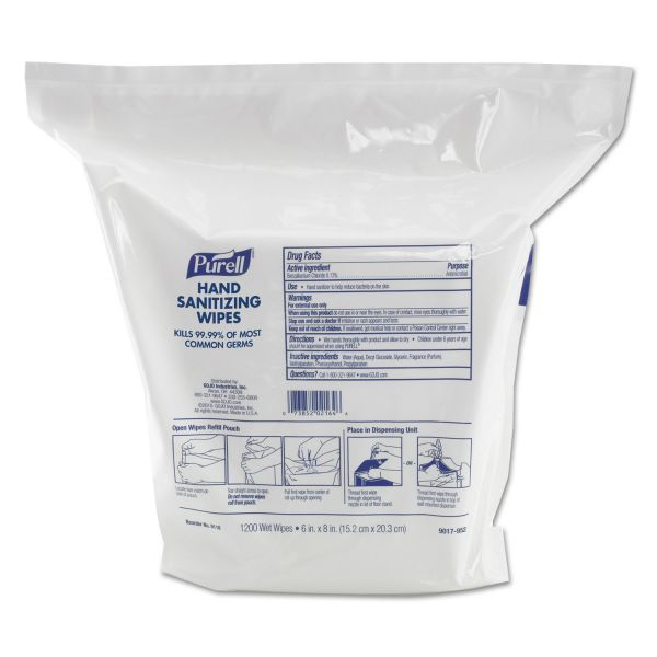 """PURELL Hand Sanitizing Wipes, 6"""" x 8"""", White, 1200/Refill Pouch, 2 Refills/Carton"""