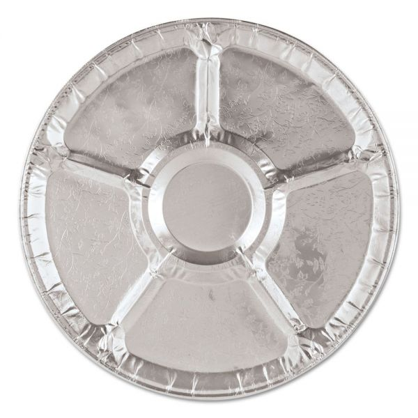 "Handi-Foil of America Aluminum Lazy Susan, 12"" Dia, 6 Compartments, Silver, 25/Carton"