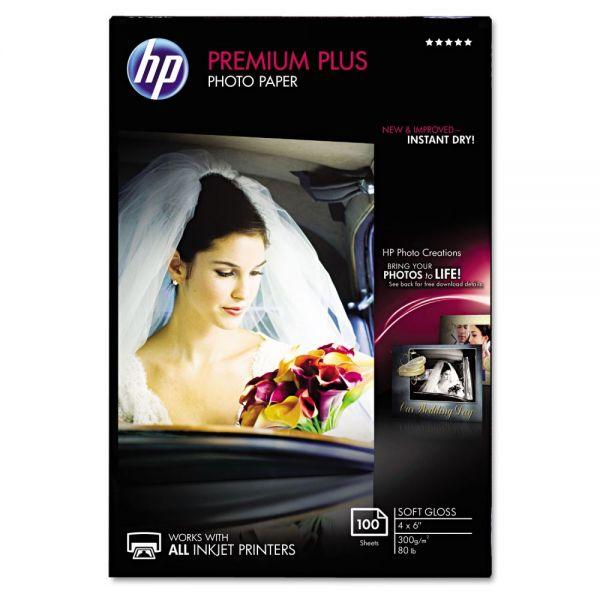 HP Premium Plus Photo Paper, 80 lbs., Soft-Gloss, 4 x 6, 100 Sheets/Pack