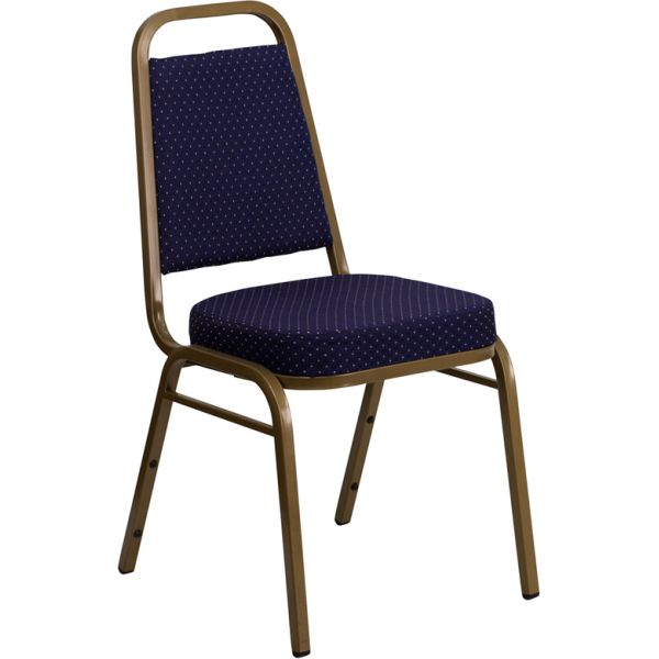 Flash Furniture HERCULES Series Trapezoidal Back Stacking Banquet Chair with Navy Patterned Fabric and 2.5'' Thick Seat - Gold Frame