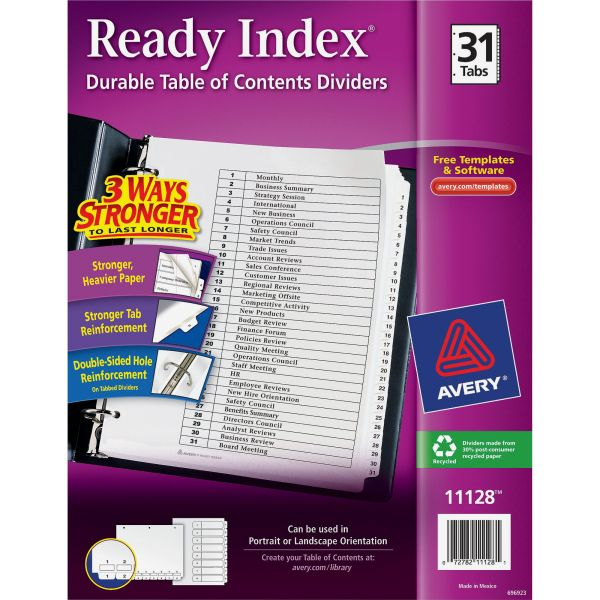 Avery Ready Index 31-Tab Numbered Dividers With Table Of Contents Page