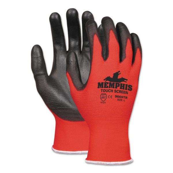 MCR Safety Touch Screen Nylon/Polyurethane Gloves, Black/Red, X-Large