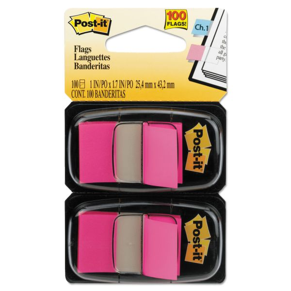 Post-it Flags Standard Page Flags in Dispenser, Bright Pink, 100 Flags/Dispenser