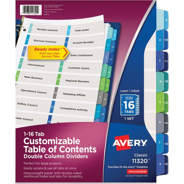 Avery Double Column Ready Index Durable Table of Contents Numbered Dividers
