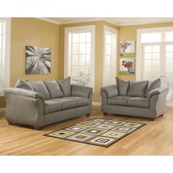 Flash Furniture Signature Design by Ashley Darcy Living Room Set in Cobblestone Microfiber