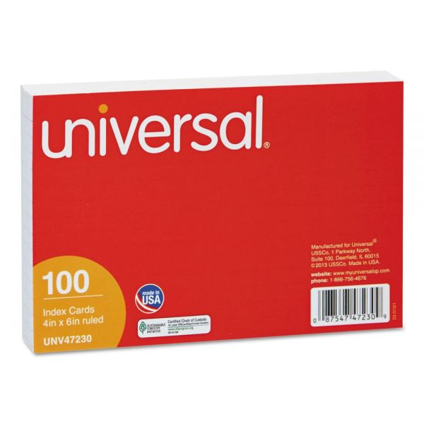 "Universal 4"" x 6"" Ruled Index Cards"