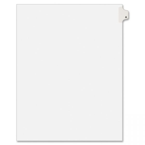 Avery Allstate-Style Legal Exhibit Side Tab Divider, Title: A, Letter, White, 25/Pack