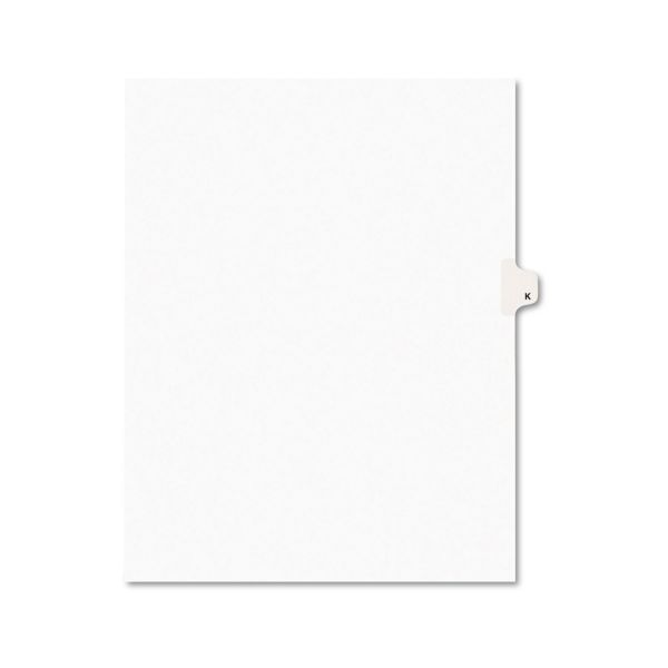 Avery Avery-Style Legal Exhibit Side Tab Dividers, 1-Tab, Title K, Ltr, White, 25/PK